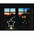 Neonfényű csillag ablakdísz, meleg fehér színben, vezeték nélküli, 31 cm