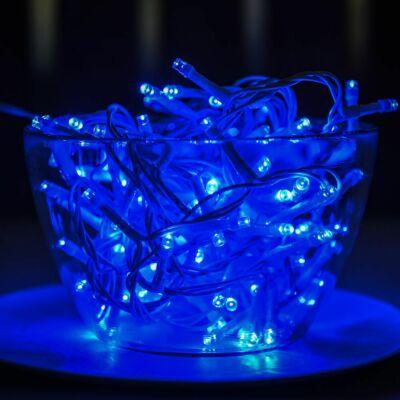Vezérlős LED fényfüzér fehér kábeles - kék szín 12 m, 240 LED