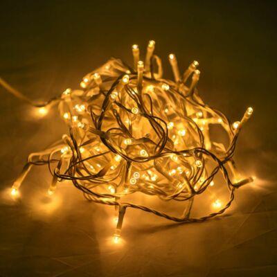 Vezérlős LED fényfüzér fehér kábeles - meleg fehér szín 6 m, 120 LED