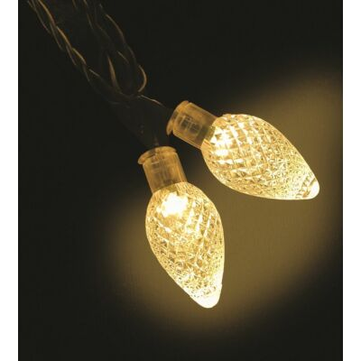 Kristálycsepp fényfüzér, zöld kábel, meleg fehér, 60 LED, 12 méter