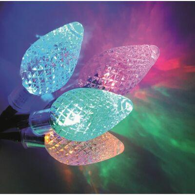 Kristálycsepp fényfüzér, zöld kábel, multi, 30 LED, 6 méter