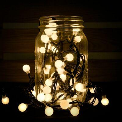 Gyöngy fényfüzér, zöld kábel, meleg fehér, 180 LED, 14,4 méter
