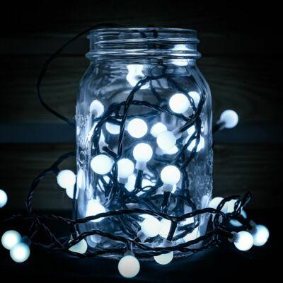 Gyöngy fényfüzér, zöld kábel, hideg fehér, 240 LED, 19,2 méter