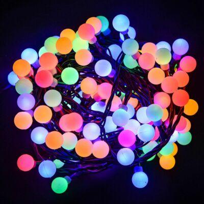 Gyöngy fényfüzér, zöld kábel, multi színek, 180 LED, 9,6 méter