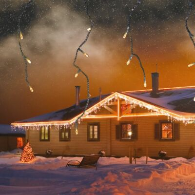 Jégcsapfüzér, hideg fehér, fekete kábel, 6x0,4 m, 197 LED