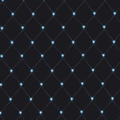Fényháló, hideg fehér, 2x1 méter, fekete kábel, 96 LED