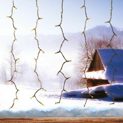 Fényfüggöny, meleg fehér, 1,5x1,5 m, átlátszó kábel kábel, 198 LED