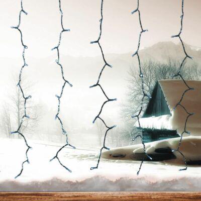 Fényfüggöny, hideg fehér, 0,9x2 m, átlátszó kábel, 192 LED
