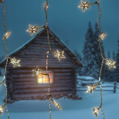 Csillag fényfüggöny, átlátszó kábel, hideg fehér, 1,5x1,5 méter, 198 LED