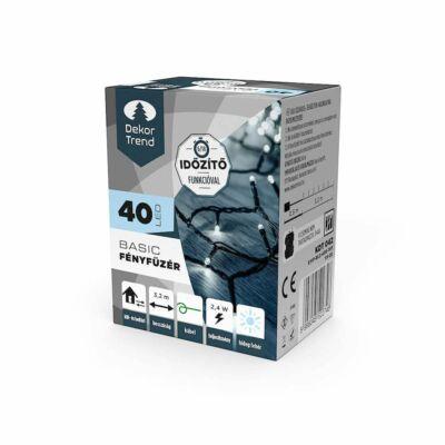 Dekortrend Basic 40 LED fényfüzér timer funkcióval, elemes, hideg fehér