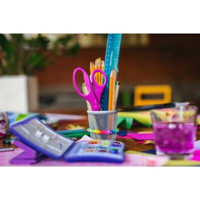 Gyerekolló, lila csillámokkal, 18 cm