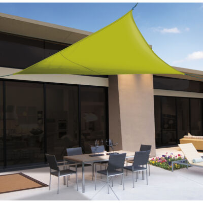 SUN-NET KIT POLYESTER kifeszíthető háromszög alakú napvitorla, 3,6x3,6x3,6 m, zöld